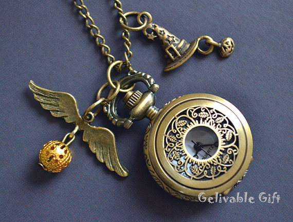 Unique harry potter pocket watch necklace antique brass sorting hat unique harry potter pocket watch necklace antique brass sorting hat and golden snitch pendant locket watch necklace nwh06 aloadofball Choice Image